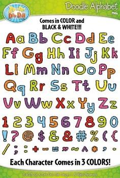 Basic Doodle Alphabet Mega Bundle Clipart {Zip-A-Dee-Doo-Dah Designs}