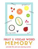 Fruit Vocabulary Memory Game for Beginner English Language