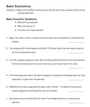 Basic Economics (Three Basic Economic Questions): VA Civics & Economics CE. 11b