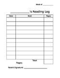Basic Editable Weekly Reading Log