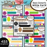 Basic Elements Clip Art MEGA Pack - Frames, Badges, Banner