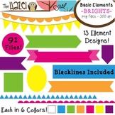 Basic Elements Clip Art Set - Frames, Badges, Banners, & Page Dividers {Brights}
