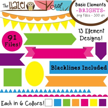 Basic Elements Clip Art Set - Frames, Badges, Banners, & Page Dividers {Brights}