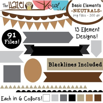 Basic Elements Clip Art Set - Frames, Badges, Banners & Page Dividers {Neutrals}
