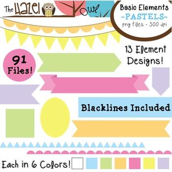 Basic Elements Clip Art Set - Frames, Badges, Banners, & Page Dividers {Pastels}
