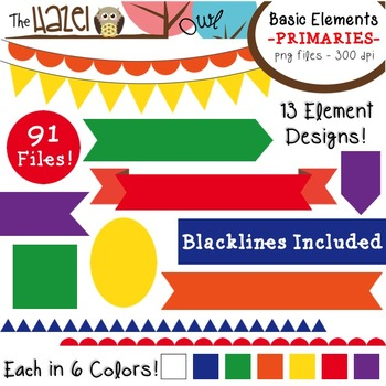Basic Elements Clip Art Set - Frames, Badges, Banners, & Page Dividers {Primary}