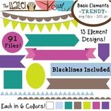 Basic Elements Clip Art Set - Frames, Badges, Banners, & P