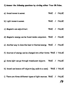 Basic Energy Review Quiz