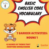Basic English Core Vocabulary Barrier Activity: Nouns 1