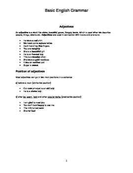 Basic English Grammar Review Handout
