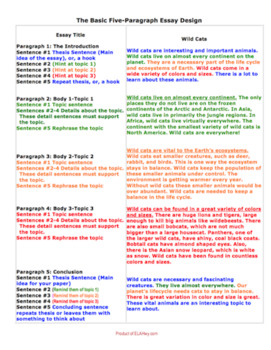 Basic Essay Design - Color-Coded Examples & Outlines, Great for SpEd ...