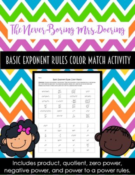 Exponent Rules Practice Color Match Activity