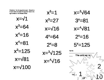 Solving Basic Exponential Equations Cut & Paste