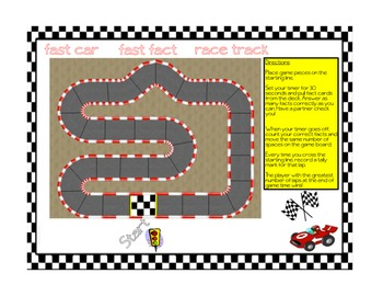 Basic Fact Fluency - Fast Car Fast Fact Race Track Game!