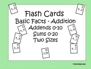 Addition Basic Facts Flashcards