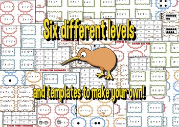 Basic Facts Math Scoot Game Bundle - Age 5 -11 plus templates to make your own!