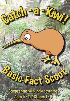 Basic Facts Math Scoot Game Bundle - Age 5 -11 plus templa