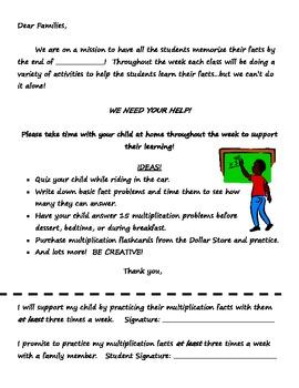 Basic Facts Memorization - Family Letter