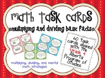 Basic Facts Multiplication and Division Task Cards - Alberta PoS Aligned