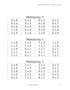 Basic Facts Practice - Multiplication and Division