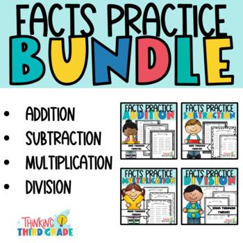 Addition, Subtraction, Multiplication, Division Practice Worksheets BUNDLE