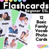 Basic Family Members Beginner Vocabulary ESL Real Photo Picture Flashcards   ELL