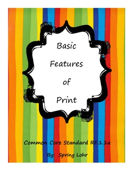 Basic Features of Print - Common Core Standard R.F.1a
