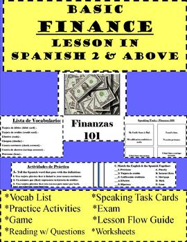 Basic Finance Lesson Bundle in Spanish 2 or Above