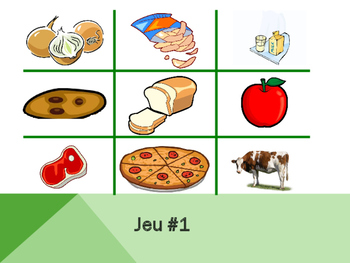 Basic Foods in French Vocabulary Tic Tac Toe
