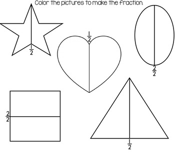 Basic Fraction Sheets for K and 1st