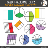 Basic Fractions Clipart - Set 2 (Halves through Twelfths)