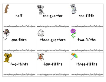 Basic Fractions - Fractions Matching Flashcards