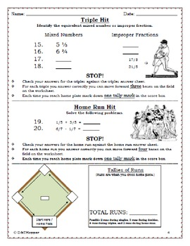 Fractions Individual Baseball Game