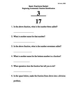 Fraction Basics (BUNDLED): Quizzes/Worksheets