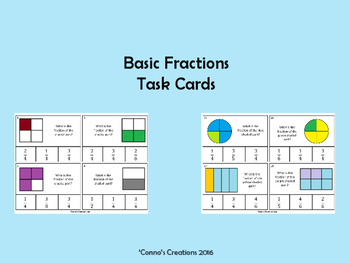 Basic Fractions - Task Cards