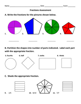 Basic Fractions Worksheets, Study Guide, and Assessment