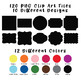 Basic Frames and Borders Clip Art - 120 png files - 10 designs in 12 colors