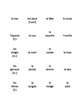 Basic French Body Parts Flash Cards