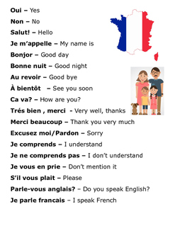 Basic French Conversation Word Search