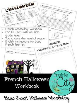 Basic French Halloween Vocabulary Workbook