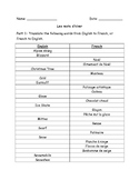 Basic French Winter Vocabulary Booklet