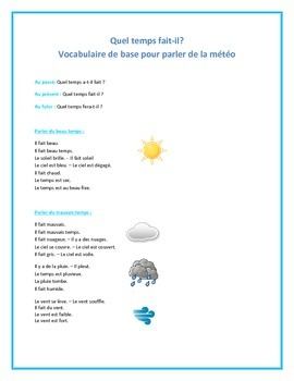 Basic French vocabulary about the weather