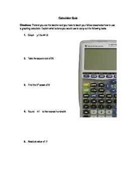 Basic Function TI-83 Plus Quiz