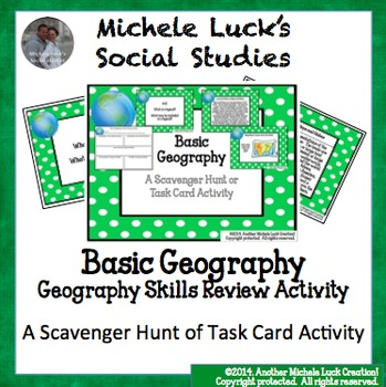 Basic Geography Task Card Scavenger Hunt Review Card Centers Activity Set