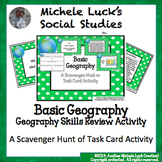 Basic Geography Task Card Scavenger Hunt Review Card Cente