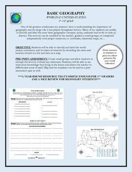 Basic Geography; World and United States