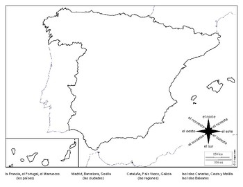 Map Of Spain Blank.Basic Geography Of Spain Derections By Michael Kretzschmar Tpt