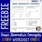 Geometric Concepts Worksheet : Free