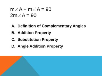 Basic Geometric Properties Multiple Choice Practice - Powerpoint