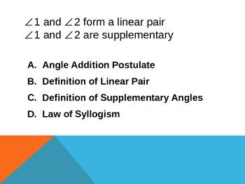 Basic Geometric Properties Multiple Choice Practice - Powerpoint